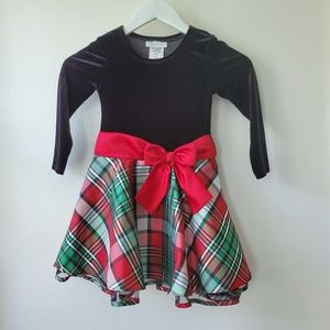 Girls Plaid Red Bow Hipster Dress 4T